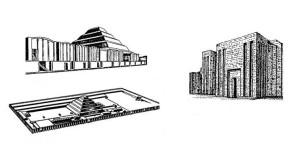 Рис. 5.  Пирамида Джосера, Саккара (2650 г. до н.э.). Реконструкция дворца с двух сторон окруженного храмами, общий вид комплекса (вверху слева); перестроенный вход в 60 м стене (справа), план сверху (слева внизу).