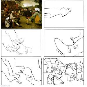 Рис. 6.  Характерные повторения образуют скрытые коннотации в композиции картины П. Брейгеля Ст. «Крестьянский танец». Оригинал статьи: Somov G.Yu (2009). Metonymy and its manifestation in visual art works (case study of late paintings by Bruegel the Elder). Semiotica 174 (1/4), 309-366.