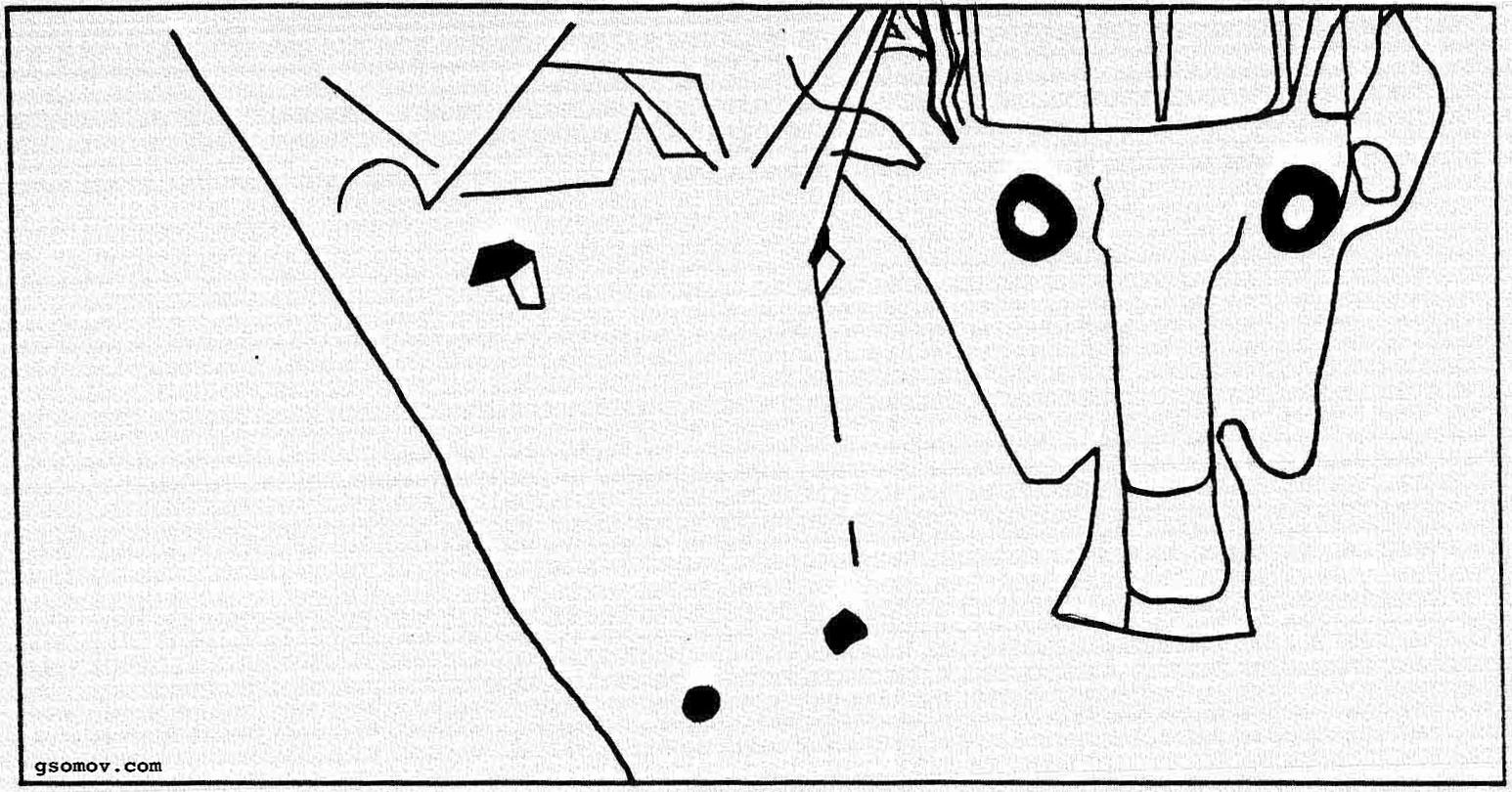 Рис. 11. «Боярыня Морозова». Скрытые знаки (коннотации) картины: морды зверей в организующих линиях картины.