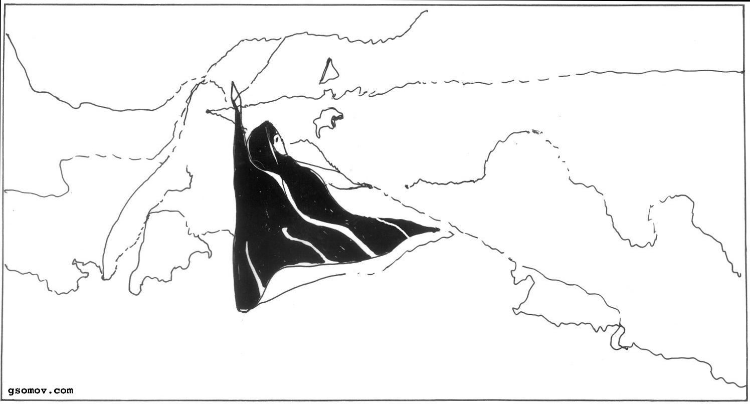 Рис. 2. «Боярыня Морозова». Метафора: черная ворона на белом снегу. Коннотация: знак метафоры усиливается линиями и конфигурациями всей картины.