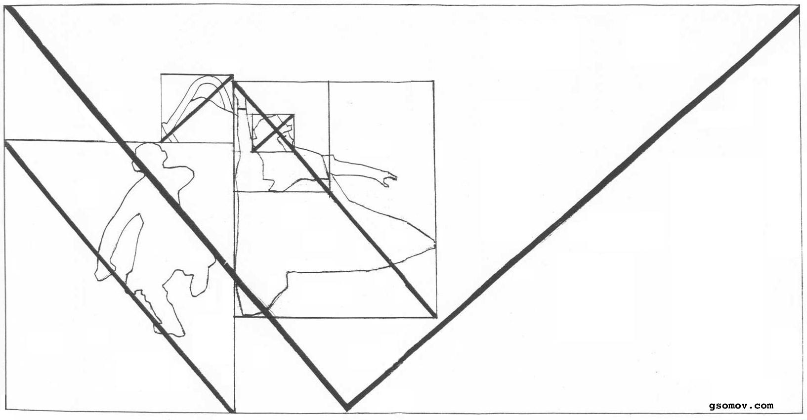 Рис. 4. «Боярыня Морозова». Система пропорций. Эти пропорции связывают основной символ и геометрическую фигуру картины.