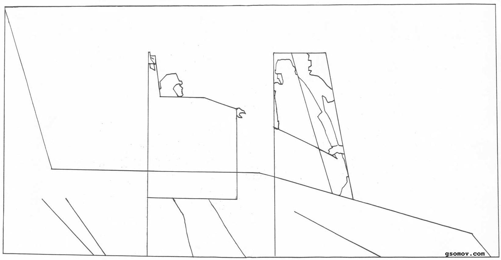 Рис. 6. «Боярыня Морозова». Коннотация: очертания скрытого знака поднятой руки в композиции картины развиты на всей плоскости изображения. Геометрические очертания фигур людей подобны очертаниям силуэта боярыни и ее руки, а также очертаниям руки с двумя перстами (см.также рис. 5). Таким образом скрытые символы двуперстия и поднятой руки как бы воплощаются в композиции картины в особой ритмической системе.