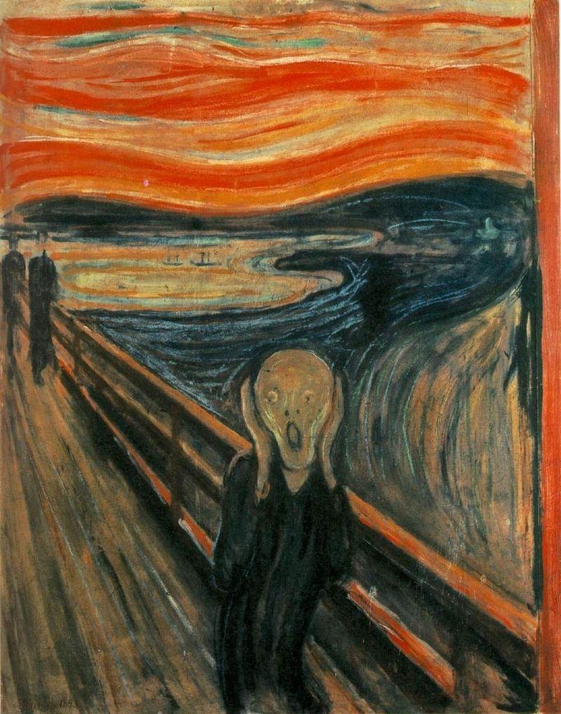 """Э. Мунк, """"Крик"""", 1893. Картон, масло, темпера, пастель. 91 х 73.5 см. Нациальная галерея, Осло, Норвегия."""